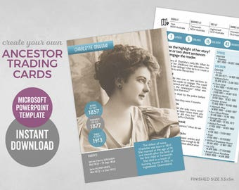 Ancestor Trading Card template, family history gifts for mom, genealogy gifts for dad, family reunion or christmas gifts, instant download