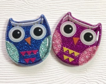 Owl Xray Markers Glitter Blue/Purple Triangles Customized with Initials