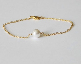 Pearl bracelet- Gold pearl bracelet- bridesmaid bracelet- Bridesmaid pearl bracelet- Rose Gold bracelet- Single pearl bracelet- Bridal