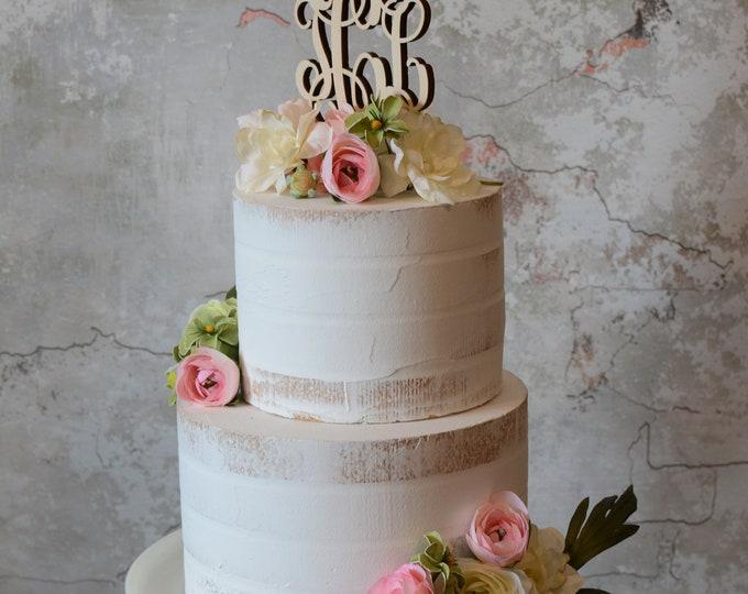 Graduation Cake Topper - Monogram Cake Topper - Rustic Cake Topper - Personalized Cake Topper - Senior - Graduation Gift - Unpainted