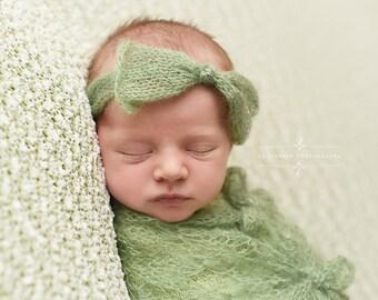 Sage Green Wide Bow Mohair Headband Newborn Photography