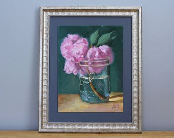 Cherry Blossoms in a Ball Jar Oil Painting Still Life by Aleksey Vaynshteyn