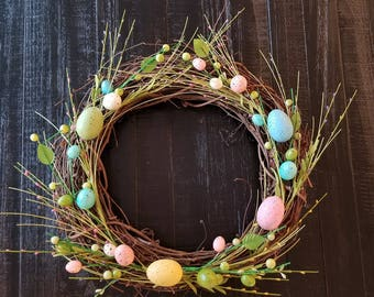 Easter Wreath, Easter Egg Wreath, Easter Decorations, Easter Eggs, Spring Wreath, Grapevine Wreath, Pastels, Spring Decorations