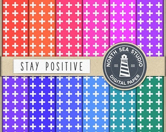 STAY POSITIVE Colorful Digital Paper Colorful Paper Colorful Backgrounds Digital Scrapbooking 12 JPG 300 dpi Files Download BUY5FOR8