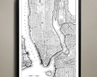 Map of NEW YORK CITY Print, Wall Decor for your Home or Office