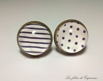 BUTTONS of cuff Cabochons • sailor Navy blue white retro