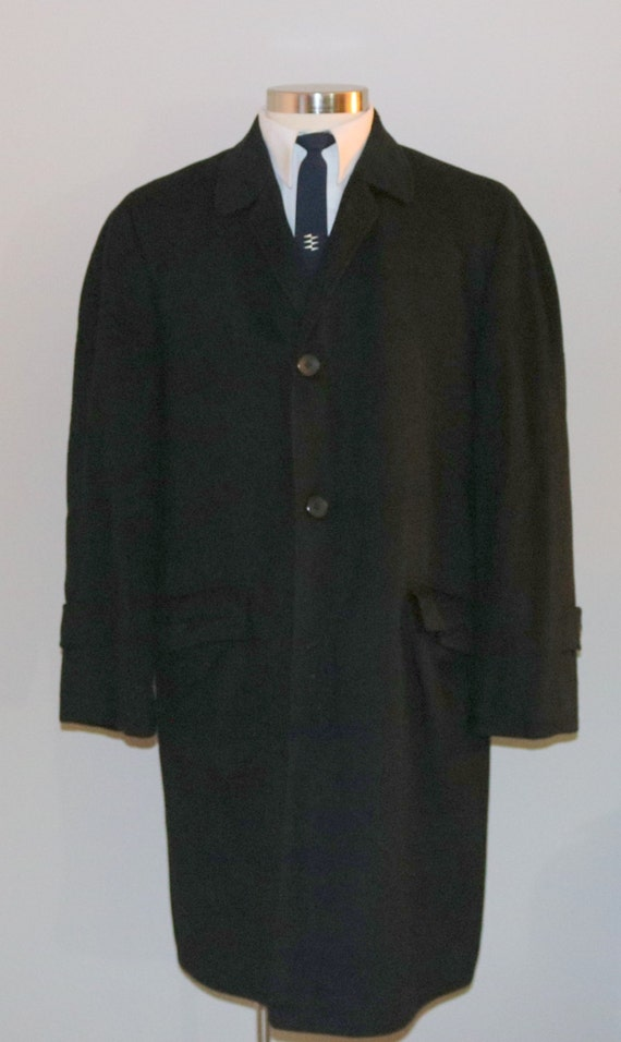 MENS SALE 1960s men's black wool overcoar/ 60s men's black overcoat/ British Walker 3LDSqQmVw