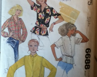 "McCalls Blouse Pattern 6688 Size: 11/12, Bust 32"", Waist 25"", Hip 35"""