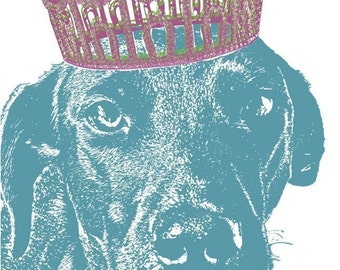 Custom Pet Portrait with a Crown, Dog Portrait from Photo, Personalized Dog Portrait Gift