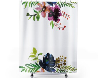 Shower Curtain, flower theme, bathroom decor