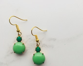 Drop earrings made from round vintage opaque green stones and swarovksi crystals
