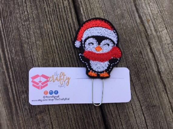Christmas Santa Penguin Coffee Paper Clip/planner clip. Christmas planner clips. Holiday planner clip. Santa planner clip. Penguin plan clip