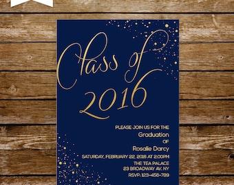 graduation invitation graduation party invitation navy and gold invitation high school grad invitation university class of prom invitations