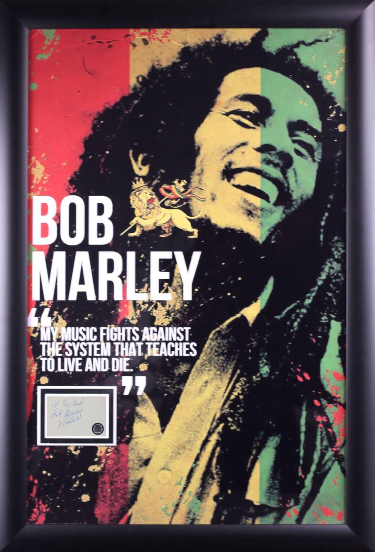 Bob Marley Poster con la firma recorta en caso enmarcado