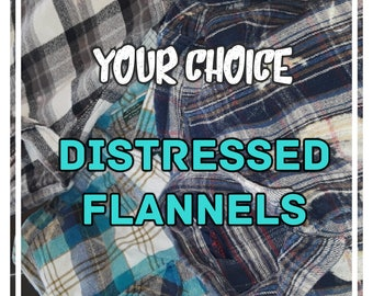 Distressed Flannel Shirt, Heavyweight Flannels, Thick Cotton, ALL SIZES,
