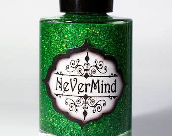 Discontinued - Nephrite - Green Holo Glitter Nail Polish - Emerald Glitter Nail Lacquer - All That Glitters