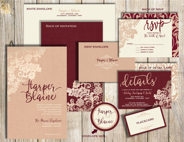 Wedding Invitation Suite Burgundy Invitations Blush and