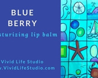 set of 3 lip balm, moisturizing, ocean, Blue Berry, unique gift, hand crafted by the artist, hand poured, fun gift, blue berry flavor