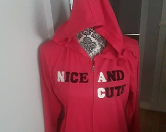 Red hoodie, cute and nice, and shy on the arm!