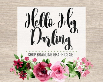 Rustic Rose Shop Branding Banners, Avatar Icons, Business Card, Logo Label + More - 13 Premade Graphics Files - HELLO MY DARLING