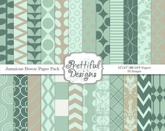 Commercial Use Digital Paper Teal and Gray Backgrounds