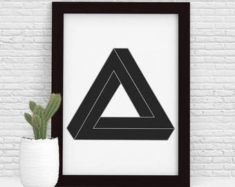 Minimalist Wall Art Printable, Geometric Wall Decor, Geometric Print, Impossible Triangle, Penrose Triangle, Impossible Shapes, Grey, Silver