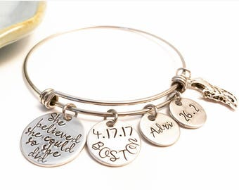 Custom Runner Jewelry - Marathon Bangle - Personalized - Hand Stamped - Stainless Steel - Silver Charm - Boston - Affirmation Bracelet
