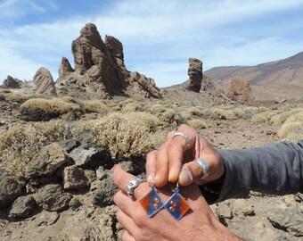 Dangle Diamond shaped Earrings - Copper Enameled Earrings - Blue and orange enamel