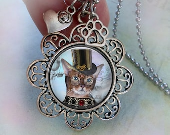 Cool Tabby Steampunk Necklace w-Heart and Paw Charms, Cat Lover Gift, Steampunk Gift, Tabby Cat Necklace, Women's Gift, Teens Gift, Birthday