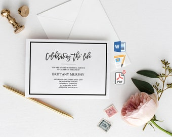 Funeral Announcement Template | Printable Funeral Invitation | Modern  Funeral Mourning Invitation | Funeral Invitation Card