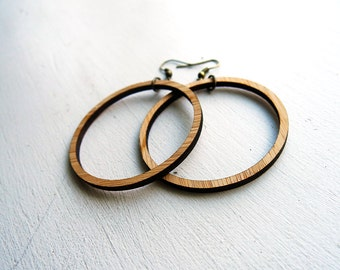 Lightweight Wood Hoop earrings inspired by Joanna Gaines fixer upper / sustainable bamboo wood