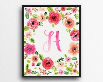 Monogram Letter H Print | Floral Wreath Monogram | Initial Print | Watercolor Floral Print | Digital Download