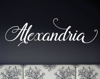 Kids Wall Decal, Nursery Wall Decal, Wall Decals for Girls Personalized Name Vinyl Wall Sticker Alexandria design