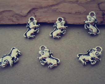 50pcs Antique Silver animal Charms pendant  7mmx12mm