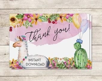 Fiesta Thank You Card, Llama Thank You Card, Cactus Thank You Card, Baby Shower, Bridal Shower, Birthday, Printable No. 1046