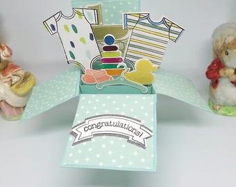 Card in a box, for a new baby boy, baby blue die cut card pop up card, box card