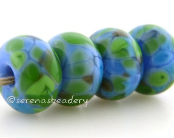 Handmade Lampwork Glass Bead Set - LEAPING WATER - TANERES - glossy or matte option - 11 or 13 mm