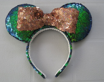 Mickey Ear Headband Green/Blue Sequins with Rose Gold Sequin bow