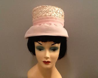 Vintage Womens Pink Hat Pillbox with Rim Weave Easter Bonnet Spring Accessory Maxine Union Made Label