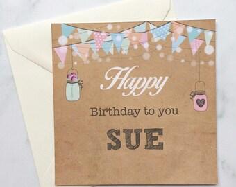Bunting Birthday Card, Female Birthday Card, Pastel Birthday Card, Friend Birthday Card, Personalised Birthday Card, Bunting Lights Card