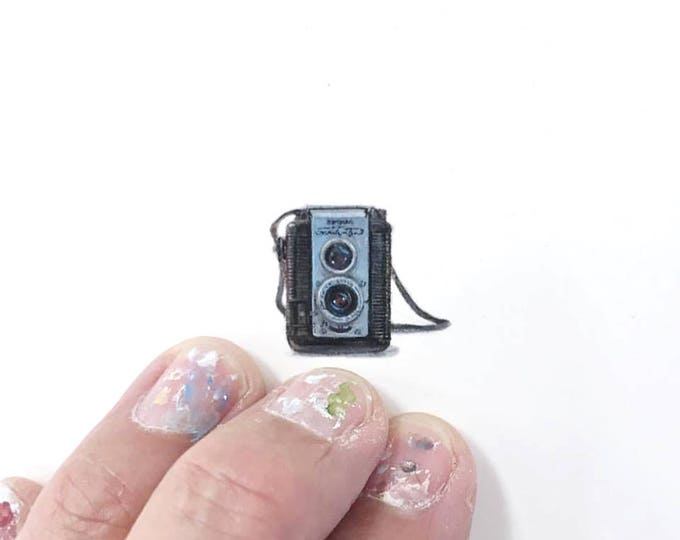 Print of miniature watercolor painting of vintage camera.  giclee print of old camera