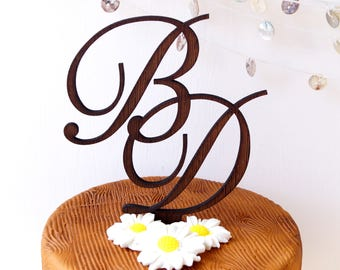 Wedding cake topper, rustic wooden cake topper, personalized cake topper, initials cake topper, custom made cake decoration, letters topper