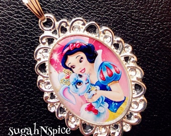 Disney Princess Snow White necklace pendant and Berry Palace Pets Necklace Pendant Cabochon for Chunky Bubblegum necklaces