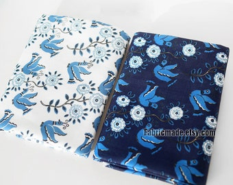 Pigeon Cartoon Linen Fabric, Blue Floral Pigeon Linen Viscose Blend Fabric - 1/2 yard