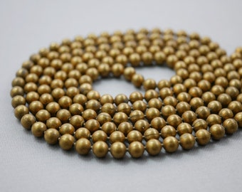 Long Brass Chain Vintage Brass Chain Ball Chain 54 inches long