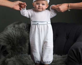Peter Boys Christening Jumpsuit, Boys Baptism & Blessing Outfits, White Baby Romper
