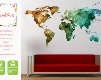 World map decal etsy world map wall decal bronze green teal free shipping easy install home decoration wall art triangular world map decal wall dcor modern gumiabroncs Gallery