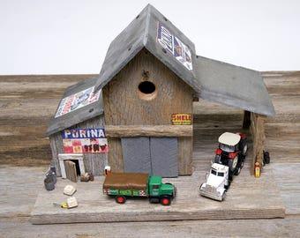 Custom Barnwood Birdhouse Feeder Diorama for Outdoor Patio Display or Miniature Fairy Garden