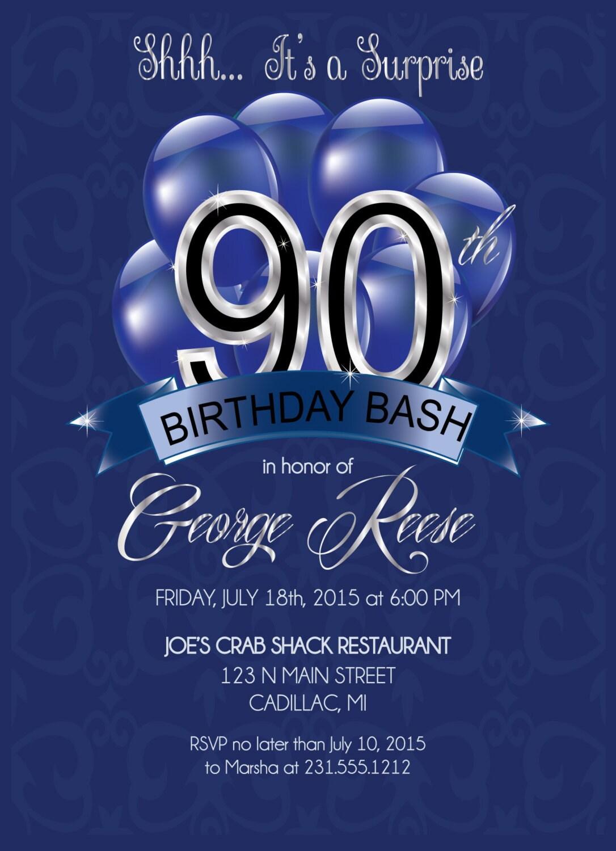 90th birthday invitations adult 90th birthday invitation zoom filmwisefo Choice Image