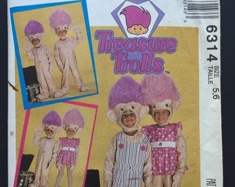 Treasure Trolls Troll Doll Child Costume Sewing Pattern McCallu0027s 6314 Size 5-6 1992 Uncut  sc 1 st  Etsy & Ace novelty pattern | Etsy